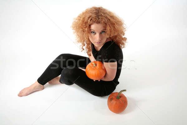 Kobieta włosy pomarańczowy portret Zdjęcia stock © Bananna