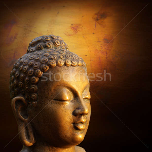 Head of Budha on golden background Stock photo © Bananna