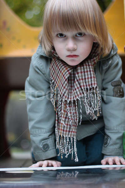любопытный мальчика за пределами осень одежды Сток-фото © Bananna
