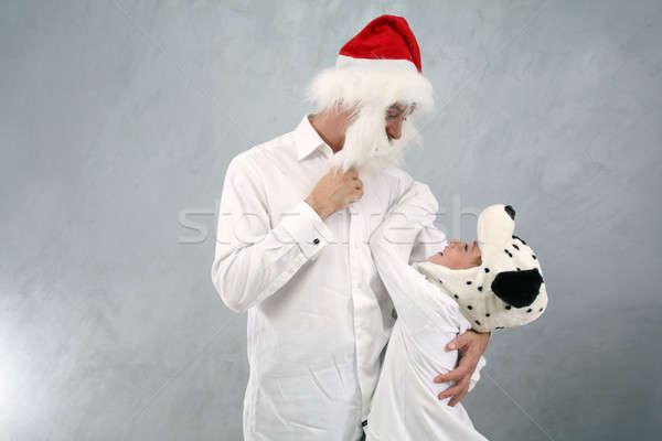 платье вверх отец сын собачка Сток-фото © Bananna