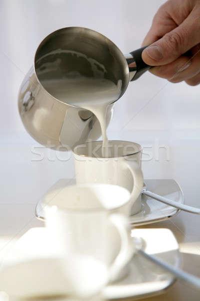 Kahve süt beyaz kahve fincanı harabe gümüş Stok fotoğraf © Bananna