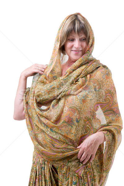 европейский женщину индийской стиль одежды улыбаясь Сток-фото © Bananna