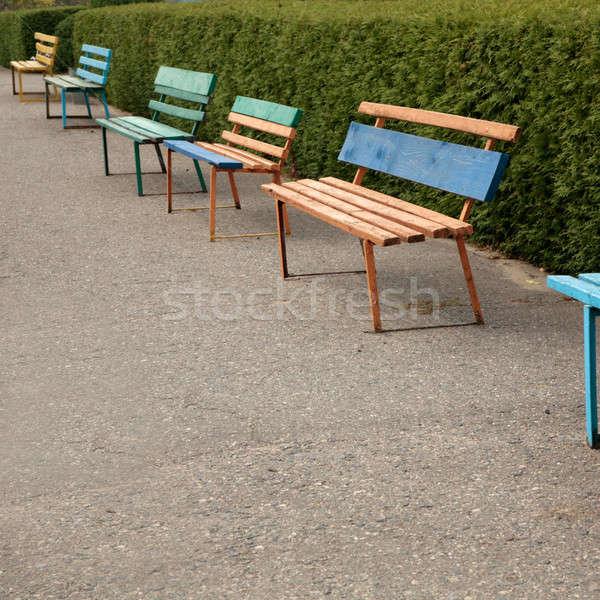 Kolorowy parku rząd drewna świetle tle Zdjęcia stock © Bananna