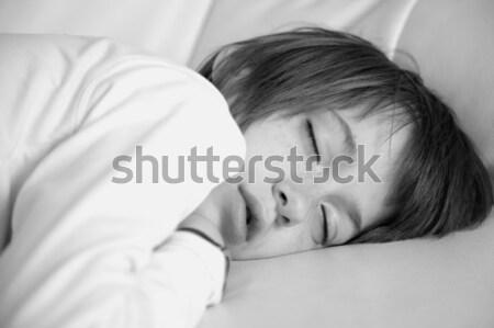 Dormir adolescente retrato cuero sofá nino Foto stock © Bananna
