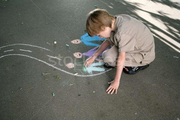 Krétarajz fiatal íj rajz kréta járda Stock fotó © Bananna