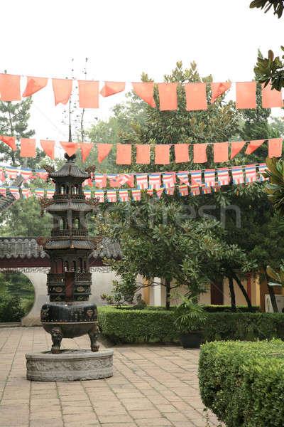 китайский храма саду красный Азии культура Сток-фото © Bananna