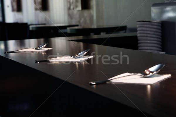 Tres plata cucharas mesa cena comida Foto stock © Bananna