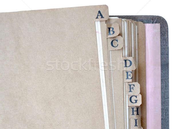 Vintage ноутбук алфавит изолированный служба фон Сток-фото © Bananna