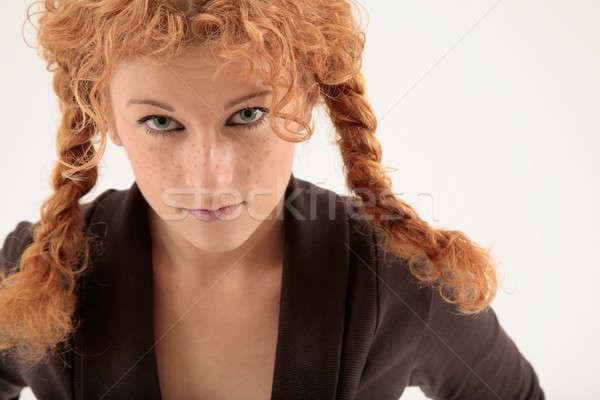 Ciddi portre bakıyor kadın Stok fotoğraf © Bananna