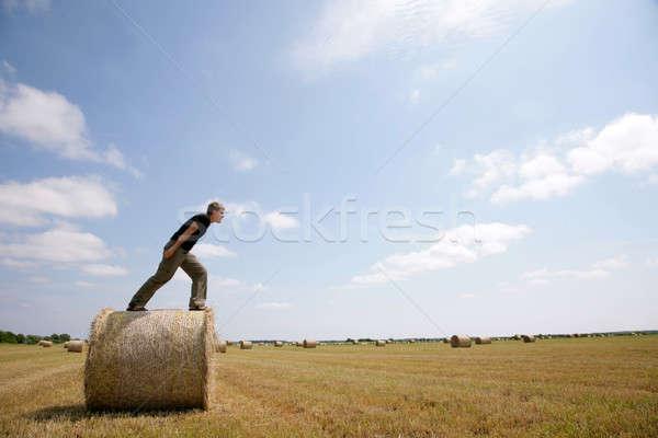 Férfi bála széna pózol felső mező Stock fotó © Bananna