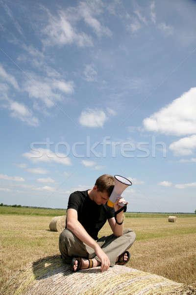 Stockfoto: Man · baal · luidspreker · moe · naar · vergadering