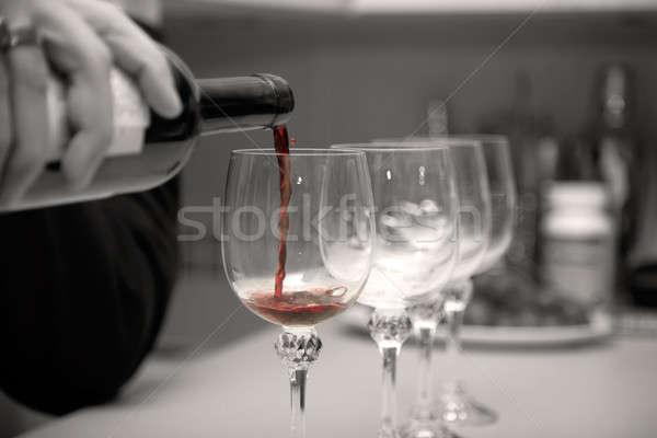 Wino czerwone strony urodziny szkła bar pić Zdjęcia stock © Bananna
