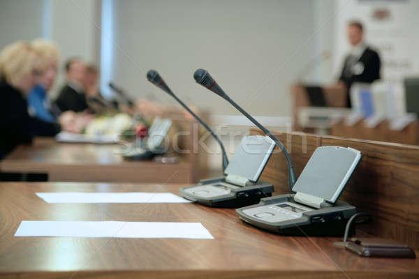 ежегодный докладе бумаги заседание микрофона конференции Сток-фото © Bananna