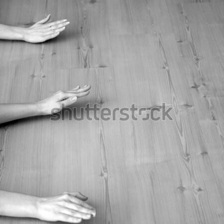 йога подготовки три рук древесины Сток-фото © Bananna