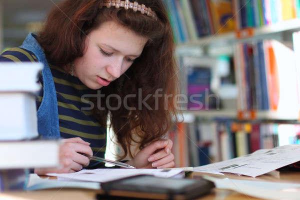 экзамен молодые студент чтение книгах библиотека Сток-фото © Bananna