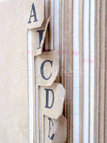 Alphabet sorted record book Stock photo © Bananna