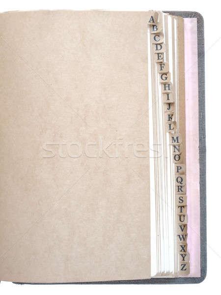 Alphabet sorted record book, vintage Stock photo © Bananna