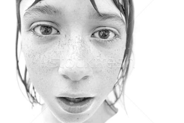 Erkek çiller kafkas portre su yüz Stok fotoğraf © Bananna