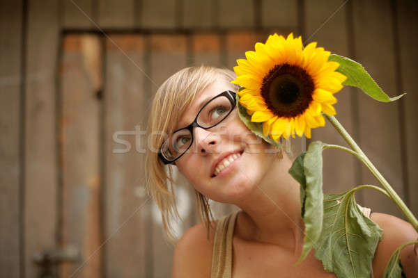 少女 ヒマワリ 笑みを浮かべて ブロンド 花 眼鏡 ストックフォト © Bananna