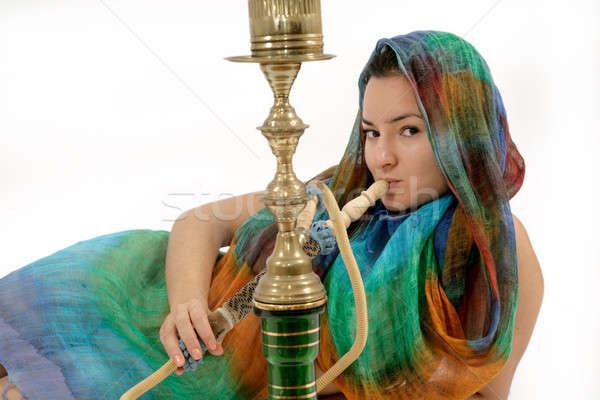 Kadın sigara içme su boru kadın arka plan Stok fotoğraf © Bananna