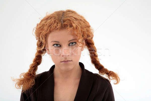 Fürtös vörös hajú nő portré fiatal nő vörös haj szeplők Stock fotó © Bananna