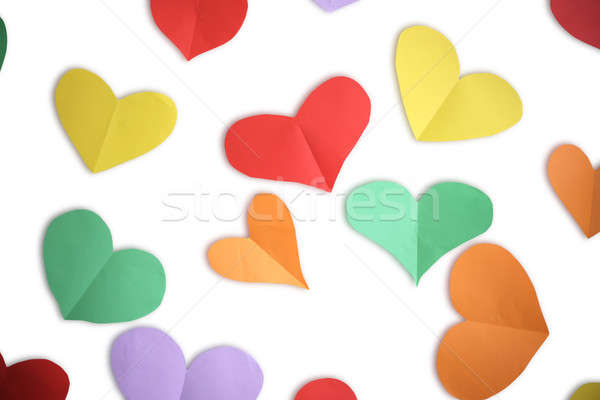 цвета бумаги сердцах изолированный белый фон Сток-фото © Bananna