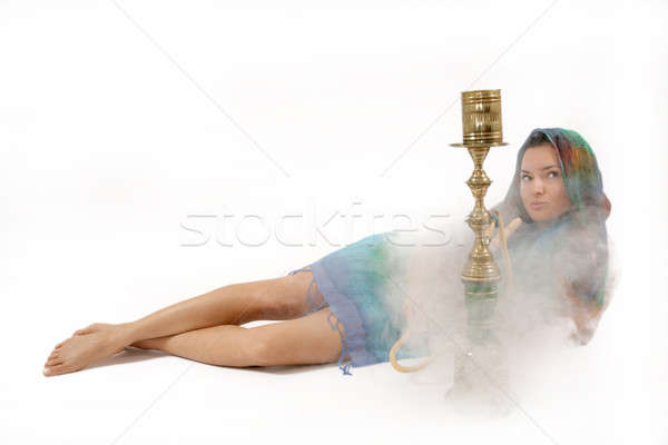 女性 水 パイプ 美しい エキゾチック 喫煙 ストックフォト © Bananna
