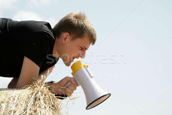 человека сено тюк Сток-фото © Bananna