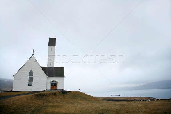 Iglesia pequeño blanco paisaje cruz Foto stock © Bananna