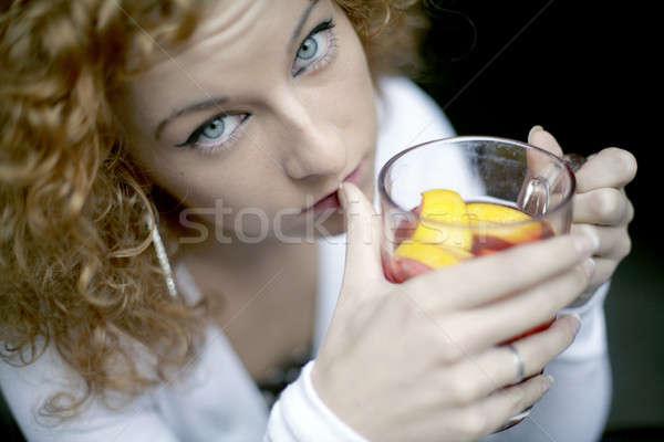 少女 飲料 茶 カフェ 女性 ストックフォト © Bananna