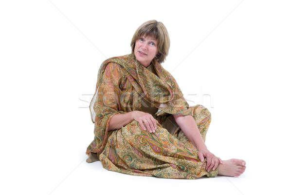 европейский женщину индийской стиль одежды изолированный Сток-фото © Bananna