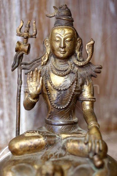 Будду статуя медитации создают латунь лице Сток-фото © Bananna