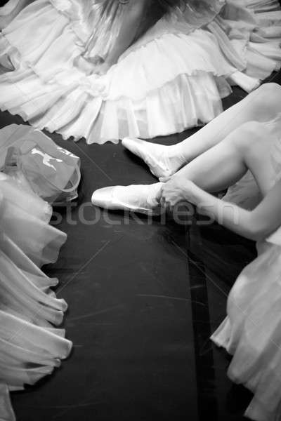 Woman's skirt and feet on the floor Stock photo © Bananna