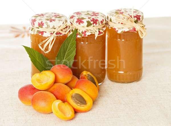 вкусный аппетитный персика фрукты шаблон еды Сток-фото © barabasa
