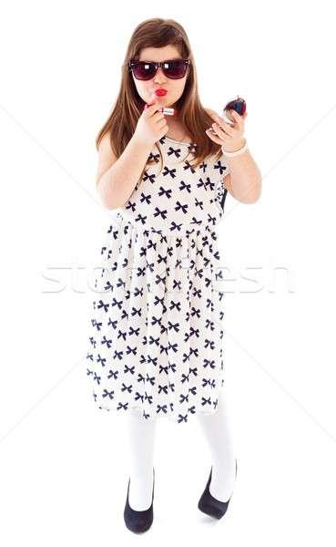 Jonge leeftijd modieus meisje poseren Stockfoto © barabasa