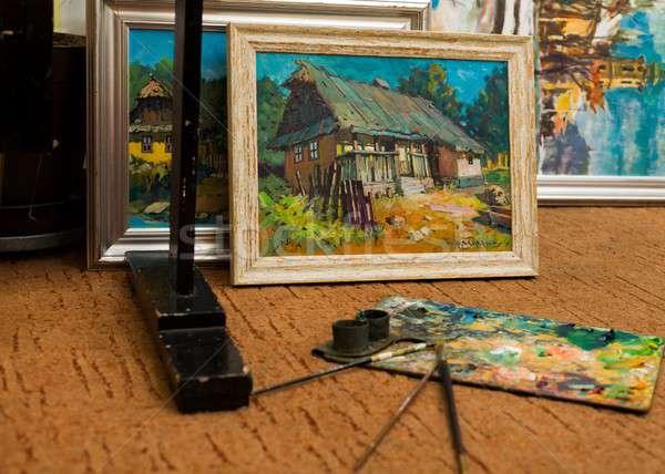 Város falu élet festmények vászon művészi Stock fotó © barabasa
