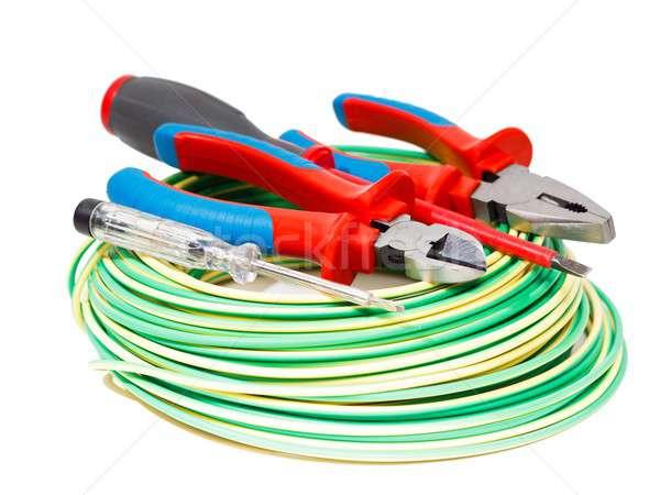 Színes felszerlés elektronikai készülék izolált fehér zöld Stock fotó © barabasa