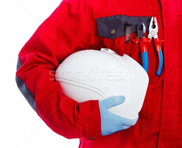 Karbantartás mérnök technikus munkaruha tart férfi Stock fotó © barabasa