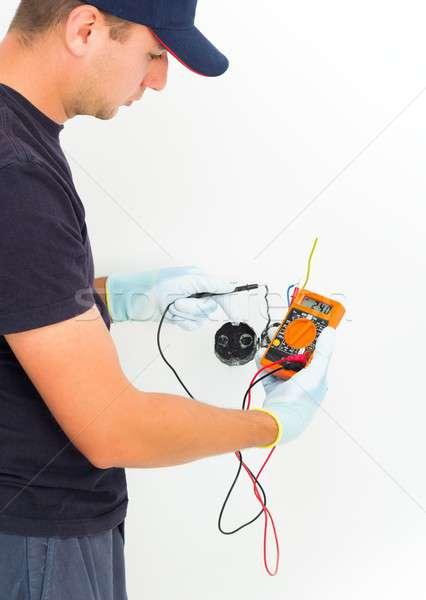Handyman tensão bonito eletricista atual Foto stock © barabasa