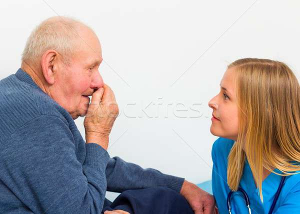Old Man Having Influenza Stock photo © barabasa