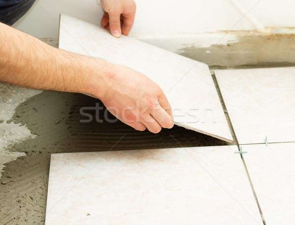 Floor Cearmic Tile Application Stock photo © barabasa