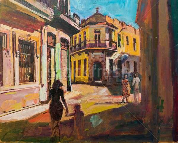 Peinture Cuba La Havane tourisme touristes marche Photo stock © barabasa