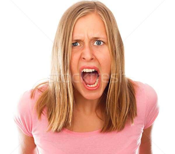 Stresujące życia zły młoda kobieta na zewnątrz Zdjęcia stock © barabasa