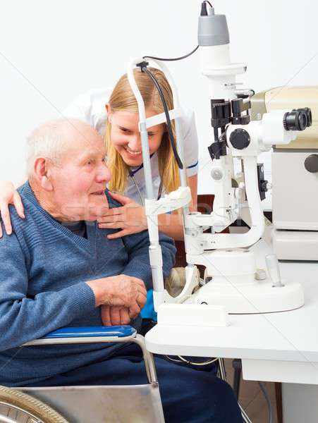 Old Man At The Ophthalmologist's  Stock photo © barabasa