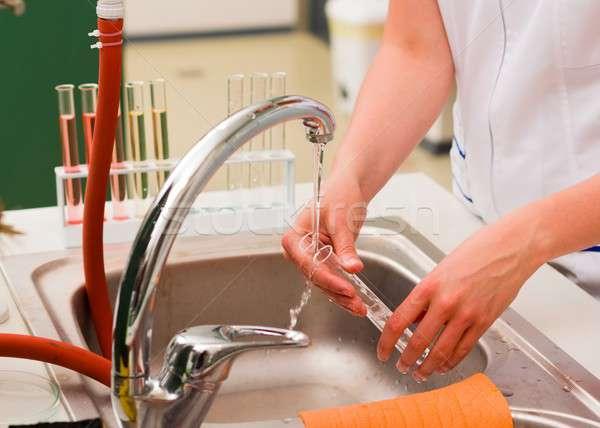 洗浄 テスト 若い女性 充填 水 ストックフォト © barabasa