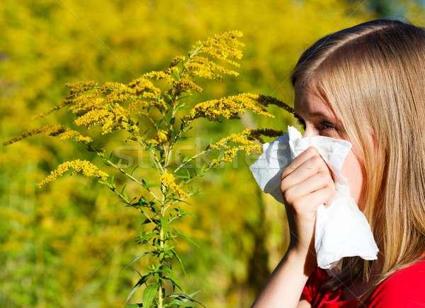 Bad allergia soffia il naso fazzoletto donna Foto d'archivio © barabasa