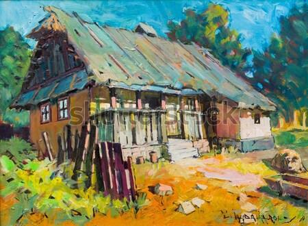 Természetes kellemes falu élet festmény tájkép Stock fotó © barabasa