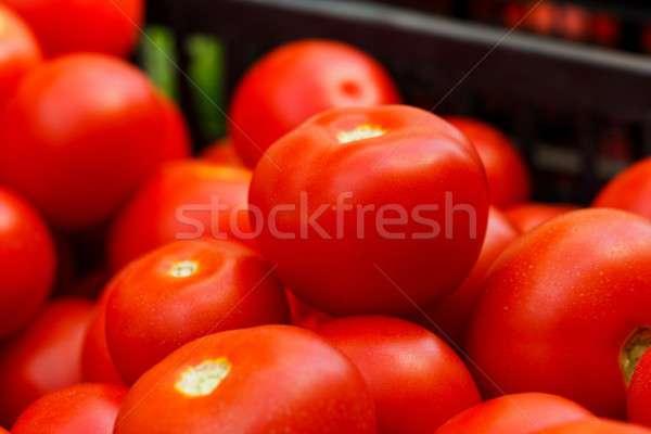 Bio tomates saudável pronto venda caixa Foto stock © barabasa