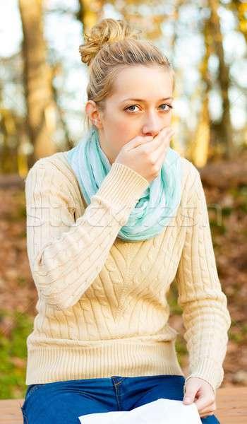 Köhögés fiatal gyönyörű nők szenvedés influenza Stock fotó © barabasa