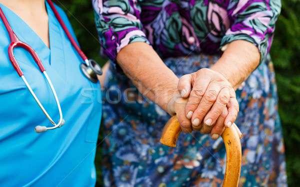 Elderly with Parkinson's Disease Stock photo © barabasa